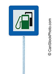 Gas Station Road Sign, Green Energy Concept, Gasoline Fuel