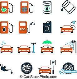 Gas station. Set of 16 color vector icons. - Color flat...