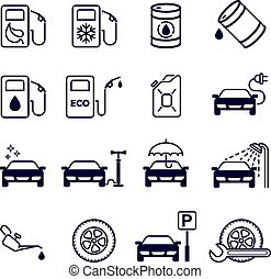 Gas station. Set of 16 monochrome vector icons - Black and...