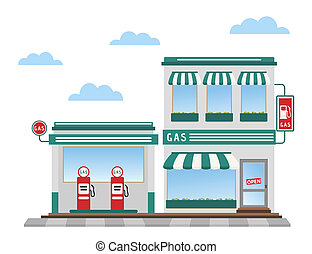 gas station - green gas station pumps and shop