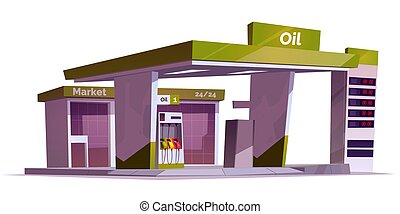 Gas station with oil pump and market