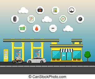 Gas station with store, car and motorcycle in city background.