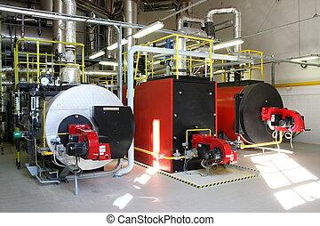 Gas steam boiler, Interior independent modern gas boiler-heating
