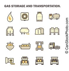 Gas storage icon - Gas storage and transportation icon sets.