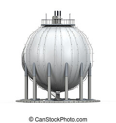 Gas Storage Refinery isolated on white background. 3D render