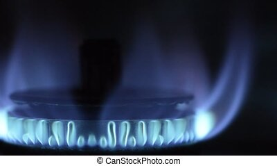 Gas stove blue flame - Close up gas stove with blue flame in...