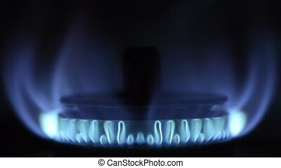 Gas stove blue flame - Gas stove with blue flame in front of...
