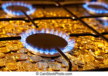 Gas stove - Blue flames of natural gas burning from a gas...