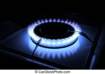 Gas stove burner with blue flame 3d model 300 D.P.I