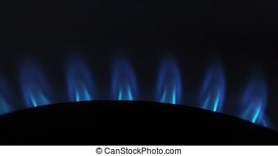 Gas Stove Burners, Blue Flame, Real Time