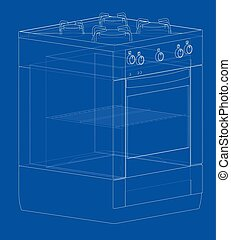 Gas stove concept. Vector rendering of 3d. Wire-frame style....