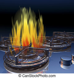 Gas stove - Digital visualization of a gas stove