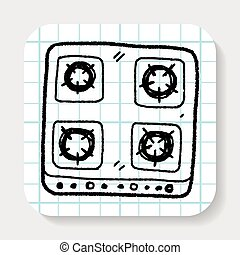 stove clipart black and white. gas stove doodle clipart black and white