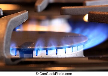 Natural gas stove burner with blue flame