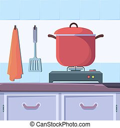 Gas stove food. Kitchen interior with boiling food cooking cuisine vector concept