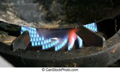 gas-stove, gas propane fire,kitchen - gas propane fire on...