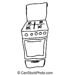 gas stove - hand drawn sketch illustration