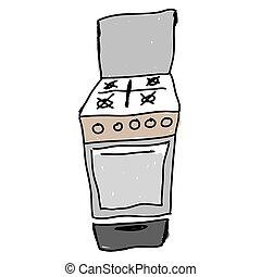 gas stove - hand drawn sketch illustration