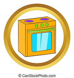 Gas stove icon in golden circle, cartoon style isolated on...