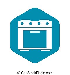 Gas stove icon, simple style