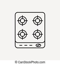 gas stove line icon