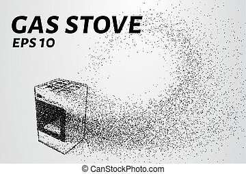 Gas stove of the particles. Gas stove consists of circles and points. Vector illustration