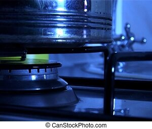 gas-stove - close-up the fiery cooker of the gas-stove