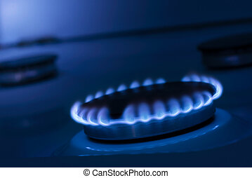 Gas Stove - The blue flame from the burner of a gas stove