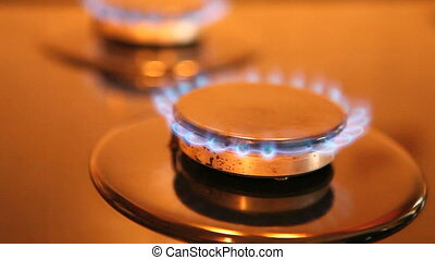 Gas-stove - Two gas ring burners on a home cooker, shallow ...