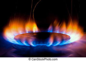 Gas stove V4 - a flame burning on a gas stove in the kitchen