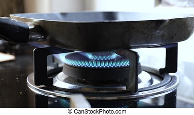gas stove with pan