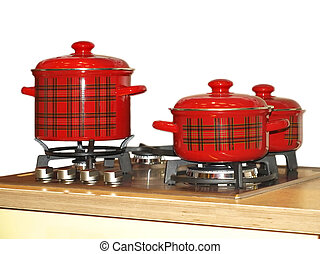 gas-stove with saucepans set