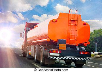 gas-tank, トラック, 行く, 上に, ハイウェー