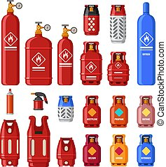 Gas tank. Gaz cylinders with acetylene, propane or butane. Petroleum fuel in safety cylinder. Helium in metal tank isolated vector set