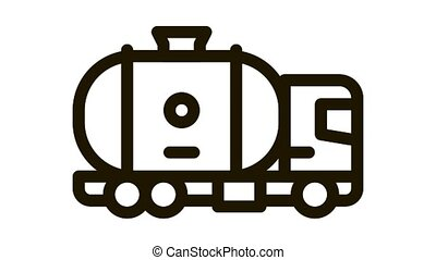 gas tank truck Icon Animation. black gas tank truck animated icon on white background