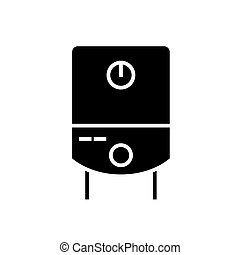 gas tank water boiler icon, vector illustration, black sign on isolated background