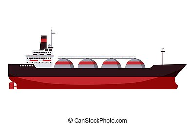Gas tanker LNG carrier natural gas. Carrier ship. Vector illustration isolated cartoon flat design