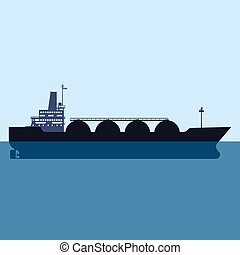 Gas tanker LNG carrier natural gas. Carrier ship. Vector illustration isolated flat design