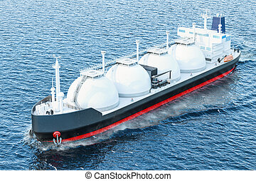 Gas tanker sailing in ocean, 3D rendering