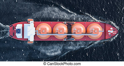 Gas tanker sailing in ocean, top view. 3D rendering