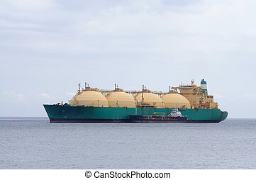 Gas tanker transporting liquefied natural gas