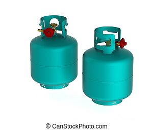Gas tanks - A pair of propane gas tanks.