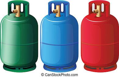 Gas tanks - Illustration of the gas tanks on a white...