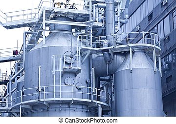 Gas tanks in gas processing plant in Hong Kong