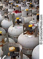 Gas tanks - Rows of tanks filled with flammable gas.