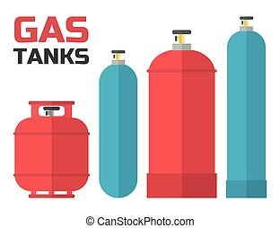 Gas tanks set. Various gas tanks in flat style. Vector...
