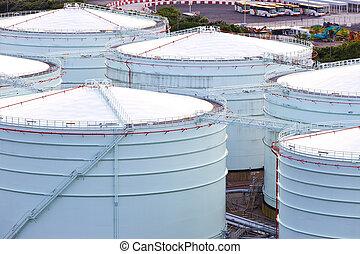 gas, tanque almacenaje, en, planta industrial