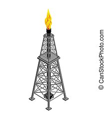 Gas tower Isometric . Industrial object. Vector illustration