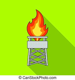 Gas tower. Oil single icon in flat style vector symbol stock illustration web.