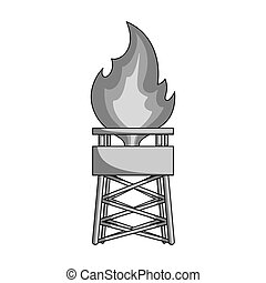 Gas tower. Oil single icon in monochrome style vector symbol stock illustration web.